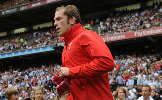 Alun Wyn Jones runs out at Twickenham on the occasion of his 50th Cap