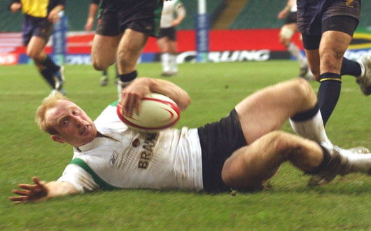 Tom Shanklin became one of Wales's four-try heroes against Romania in 2004