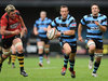 Cardiff's Gareth Davies cuts loose against Newport at the Arms Park.