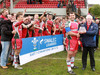 WRU deputy chairman Ken Hewitt presents Ebbw Vale captain Trystan Davies with the Division 1 East trophy.