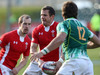Ifan Evans looks to off-load against South Africa as Lee Williams offers support during Wales' 17-5 win.