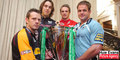 Representatives of the four Welsh regions in the 2007-2008 Heineken Cup; Dragons' Kevin Morgan, Ospreys captain Ryan Jones, Scarlets' Matthew Watkins and Blues captain Xavier Rush