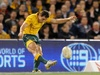 Australia super sub Mike Harris kicks the winning goal after the final hooter to send Welsh hopes crashing.