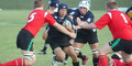 IRBU19 2005: Shindo Kamaike is tackled by Wales U19's Will Jones (5) and Nick Downs (1)