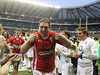 Ryan Jones gives the thumbs up after Wales claim the triple crown with their victory.
