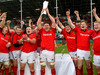 Munster A celebrate their 31-12 British & Irish Cup final over Cross Keys at Cork's Musgrave Park.