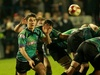 Ospreys' Jakob Williams gets the ball away to his backline