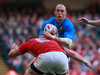 Dan Lydaite (6) stops Italy No 8 Sergio Parisse in his tracks.