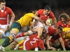 Wales scrum half Mike Phillips attempts to break free from the Wallaby defence.