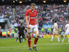 Rhys Priestland does the walk of shame after receiving a yellow card.