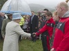 The Queen meets Leigh Halfpenny before the 'Diamonds in the Park' event at Glanusk yesterday