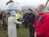 The Queen meets Stephen Jones before the 'Diamonds in the Park' event at Glanusk yesterday.