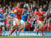 Wales centre Jamie Roberts cuts inside the Italian defence to head towards the tryline...
