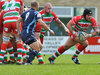 Ebbw Vale's Spencer Gibson spots a gap in the Otters' defence.