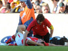 Sam Warburton is attended to by physio Mark Davies after suffering a heavy knock.
