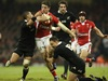 Alex Cuthbert is tackled by Aaron Smith and Israel Dagg.