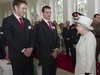 Ryan Jones and Sam Warburton chat to the Queen at Margam Park on Thursday.