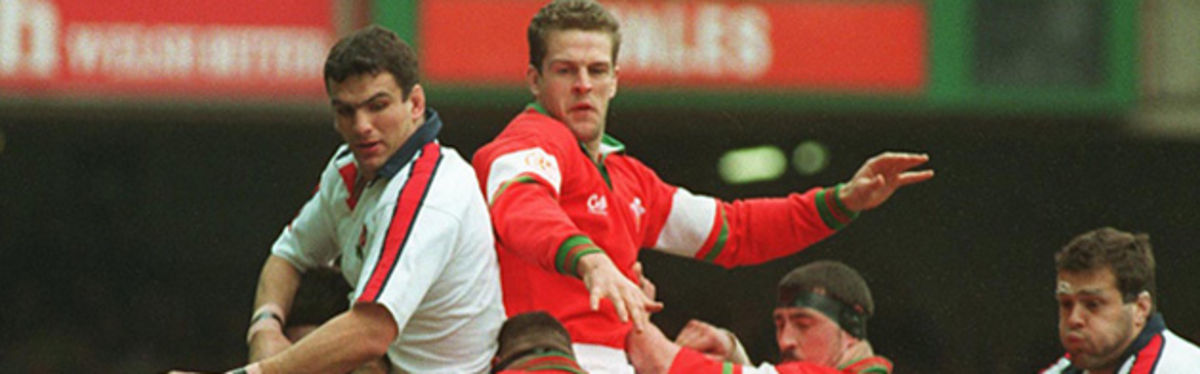 England's Martin Johnson and Wales's Gareth Llewellyn contest a high ball in the 1995 Five Nations clash