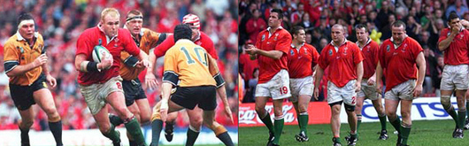 Scott Quinnell takes on Larkham as Wales drive forward / A dejected Wales pay their respects to the crowd at the end of the adventure