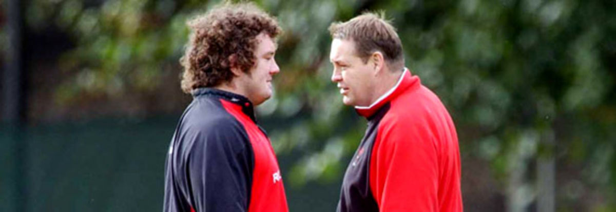 Adam Jones take advice from Steve Hansen in one of the pre Rugby World Cup training sessions