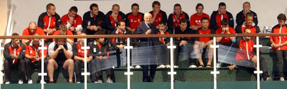 The last meeting of Wales as a squad, with Sir Tasker Watkins, celebrating the rejuvenation of Welsh rugby at the Rugby World Cup upon their return from the tournament
