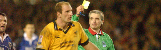 Dallaglio is given his sin bin orders during the fourth round Heineken Cup clash with the Celtic Warriors