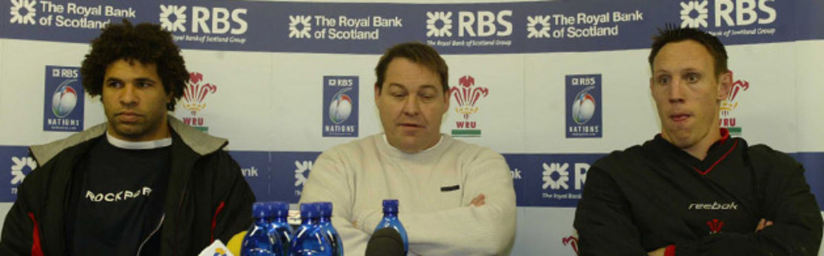 Colin Charvis and Mark Taylor flank Steve Hansen in the team announcement press conference