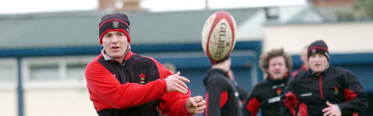 Iestyn Harris training with the squad in Dublin in February prior to the Ireland clash