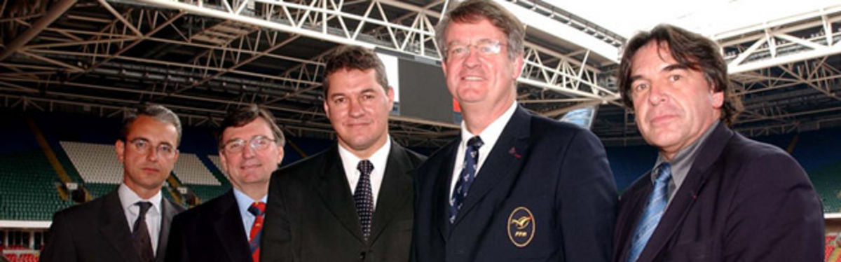 WRU Group Chief Executive, David Moffett and WRU Chairman, David Pickering, with representatives from France 2007