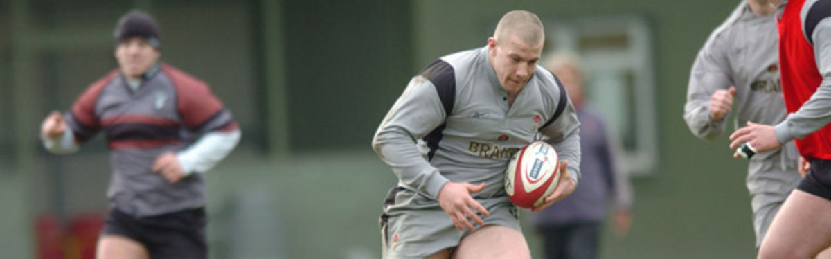 John Yapp training with Wales in January 2005