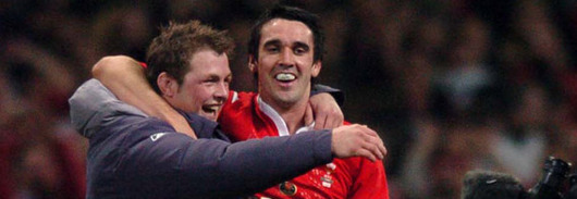 Dafydd Jones celebrates Wales's victory over England in the 2005 RBS Six Nations