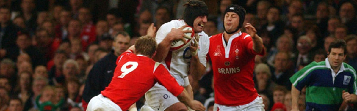 Dwayne Peel and Hal Luscombe man the Wales defence against Danny Grewcock