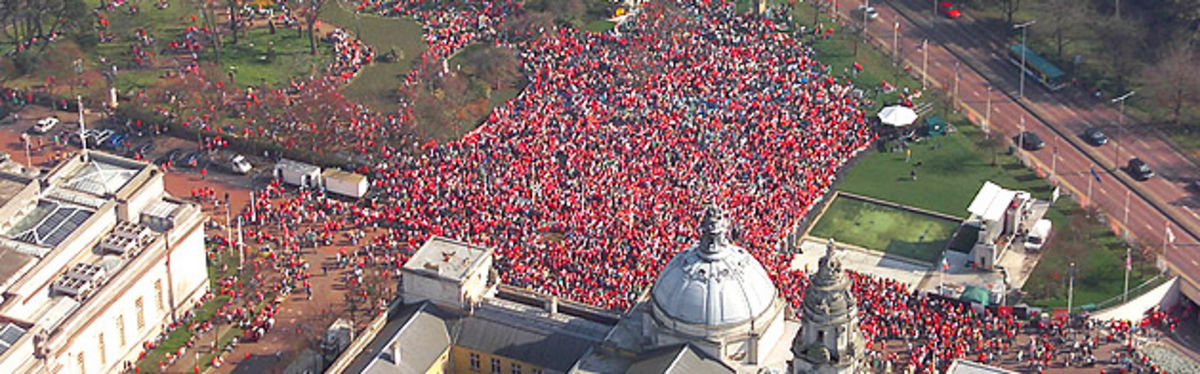 The day that captured the imagination of a nation: the exterior of Cardiff City Hall is packed with Welsh fans