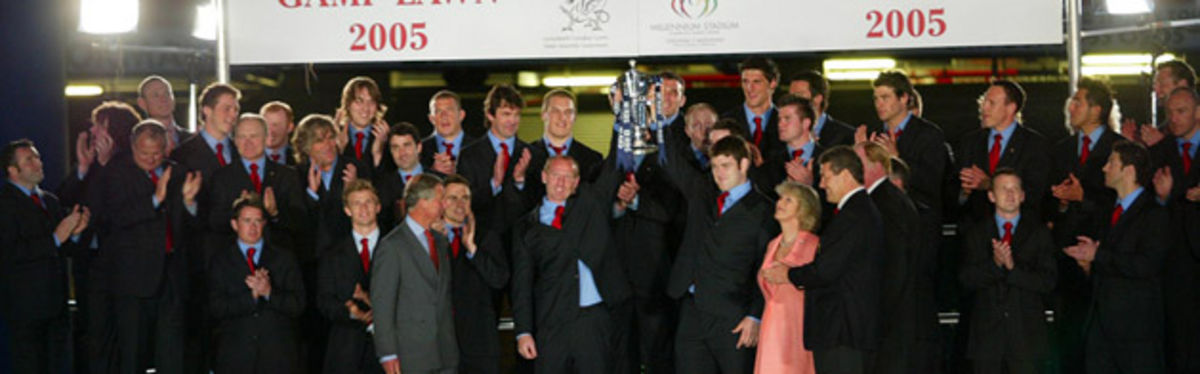 Prince Charles and the Duchess of Cornwall present the RBS Six Nations trophy to Wales once again on their first official visit to the Principality as a married couple