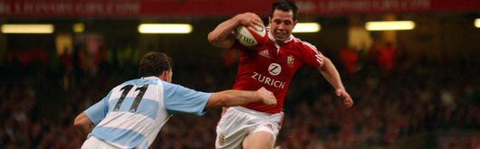 Gareth Cooper, one of three Welshmen starting against the Pumas for the Lions, leads an attack into the Argentina 22