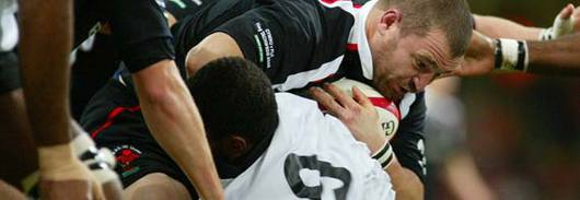 (Main) Chris Horsman engaged in one of the many physical battles that Fiji threw Wales's way