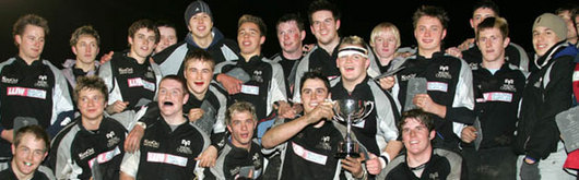 The Ospreys celebrate winning the U18 Reebok Regional Championship last season and will be looking to make a strong defence of their U18 title in their clash with the Blues this afternoon