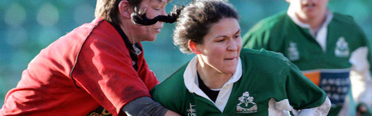 Liza Burgess and Tania Rosser battling it out in last season's Wales v Ireland