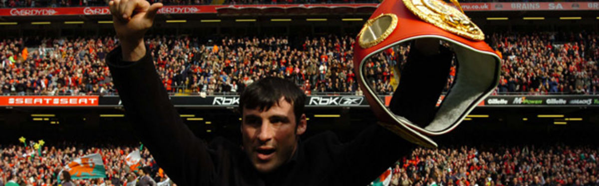 Joe Calzaghe enjoys the crowd experience at the Millennium Stadium