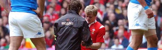 Dwayne Peel receives treatment from Wales Team Physiotherapist during the Italy match following injury