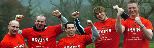 Brent Cockbain, Ryan Jones, Gareth Thomas, Tom Shanklin and Gareth Cooper lead the cheerleading