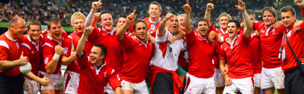 (Main) Wales Seven lift the Melbourne 2006 Commonwealth Games Plate Trophy