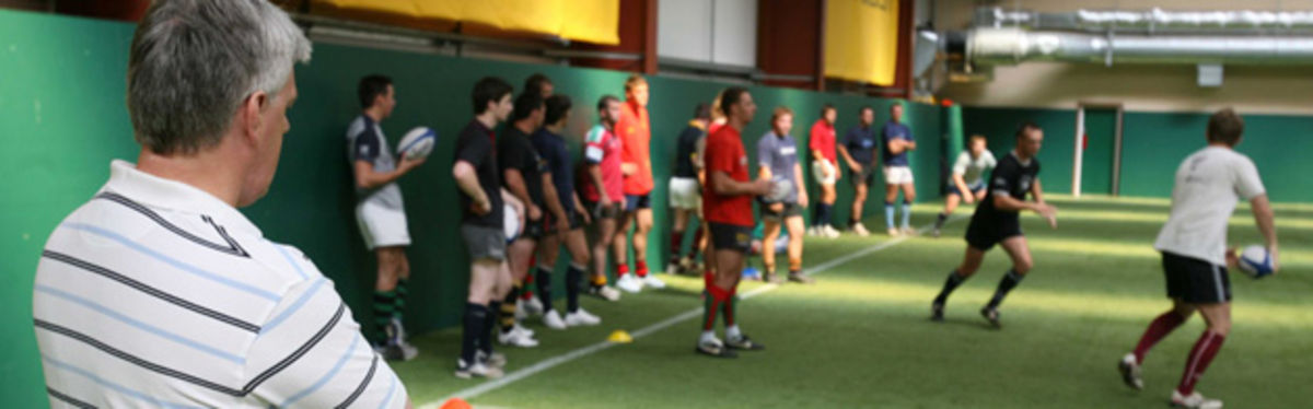 WRU Chief Executive, Steve Lewis, oversees the first training session of the Welsh Clubs XV