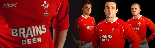 Chris Czekaj, Stephen Jones and Shane Williams model the new Wales Home Test Jersey