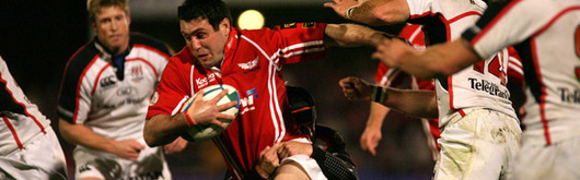 Scarlets skipper Stephen Jones leading a charge against Ulster at Stradey Park