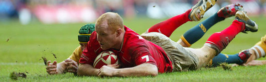 Martyn Williams grounds the second of Wales's tries