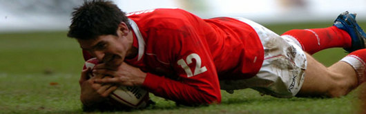 James Hook scores against the Pacific Islands in the 2006 Invesco Perpetual Series