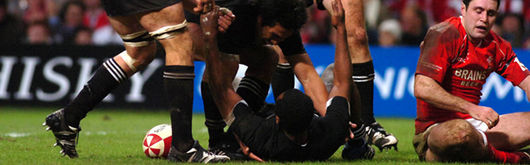 Sitiveni Sivivatu celebrates part one of his hat trick as a quick all-out counter attacking All Blacks side dismantled Wales