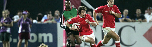 Wales Sevens in action against the Arabian Gulf in the IRB World Series in December