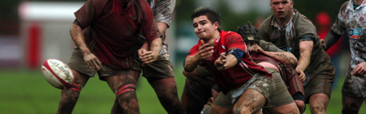 Matthew Gibson gets the ball out for the Scarlets U18 as they blazed a comeback trail over the Dragons U18